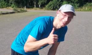 Fredrik efter målgång.